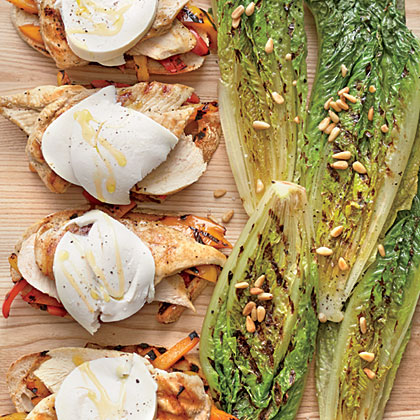 Open-face Grilled Chicken-and-Pepper Sandwiches with Grilled Romaine WedgesRecipe