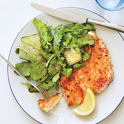 Parmesan Chicken with Arugula Salad and Tomato Vinaigrette