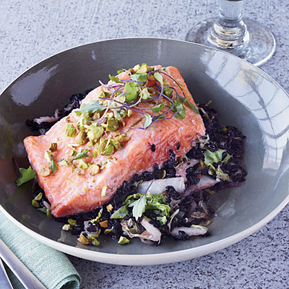 Arctic Char, Black Rice and Napa Cabbage En Papillote