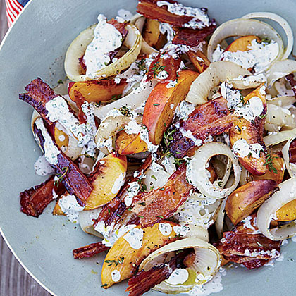 Grilled Peach, Onion and Bacon Salad with Buttermilk Dressing