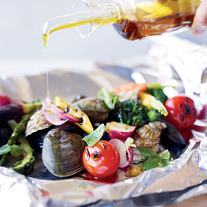 Grilled Shellfish and Vegetables al Cartoccio