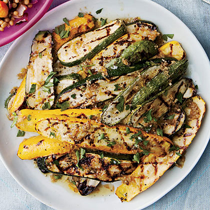 Grilled Summer Squash with Bagna Cauda and Fried Capers
