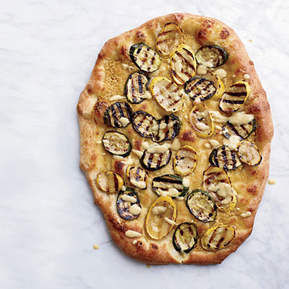 Hummus and Grilled-Zucchini Pizzas Recipe
