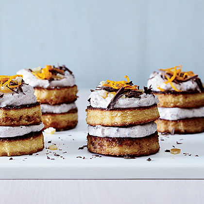 Mini Cassata Cakes                            RecipeMakes an easy version of cassata, the ornate Sicilian dessert with layers of sponge cake, sweetened ricotta, candied fruit, and dark chocolate.