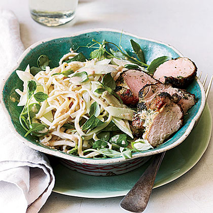 Peanut Noodle Salad with Cucumber and Roast Pork