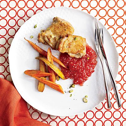 fw-Roast Chicken Thighs with Tomato-Tapioca Porridge Recipe