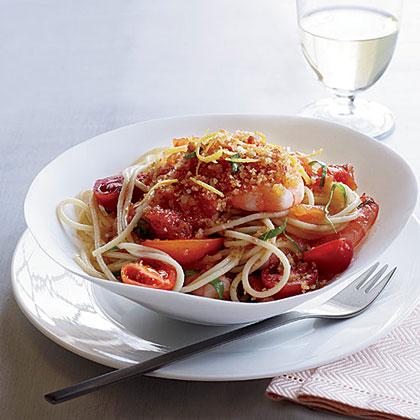 Spaghettini with Shrimp, Tomatoes and Chile CrumbsRecipe