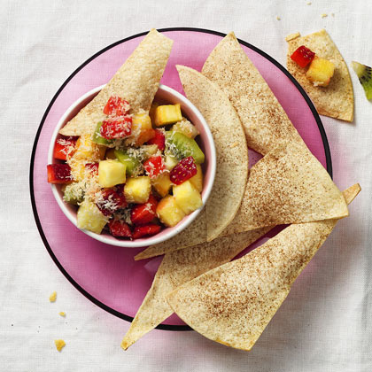 <p>Spiced Tortillas with Tropical Fruit Salsa</p>