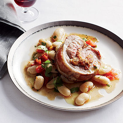 Stuffed Veal Breast with Gigante Beans