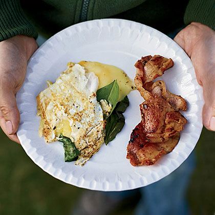 Three-Egg Omelets with Whisky Bacon Recipe