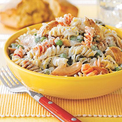 Creamy Lemon Pasta with Chicken RecipeIf you have leftover chicken, toss together this quick recipe for Creamy Lemon Pasta with Chicken. Feel free to vary the veggies for what you have on hand.