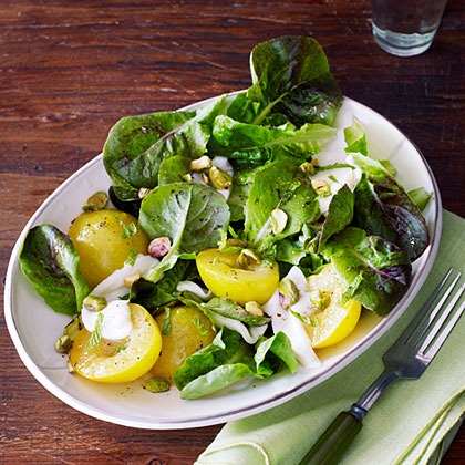 Greengage Plum Salad with Mint and Pistachios