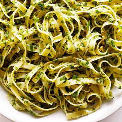Sorrel and Almond Pesto Pasta