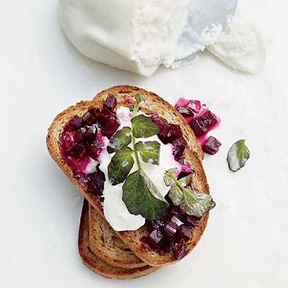 Glazed-Beet-and-Burrata ToastsRecipe