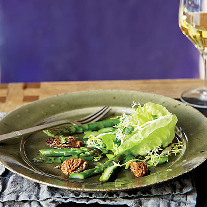 Morel-and-Asparagus Salad with Frisee and Butter Lettuce Recipe