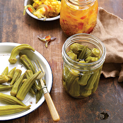 Pickled Okra                            RecipeOkra shrink and float when pickled. To get the most in each jar, pack one layer of okra with stem ends down and tips up and another layer with stem ends up and tips down, interlacing the tips in the middle of the jar.