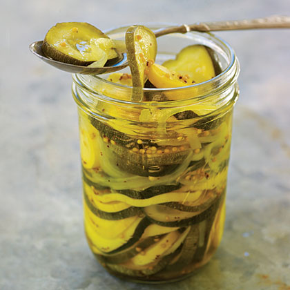 Squash Pickle Medley                            RecipeThis colorful blend mimics bread-and-butter pickles--sweet, tart, and squeaky-crisp--even though it contains no cucumbers. Use the freshest zucchini and yellow squash you can find, free of blemishes and with no hint of limpness, for the crispiest results.