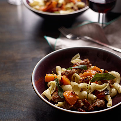 Pasta with Roasted Squash, Sausage and Pecans Recipe | MyRecipes