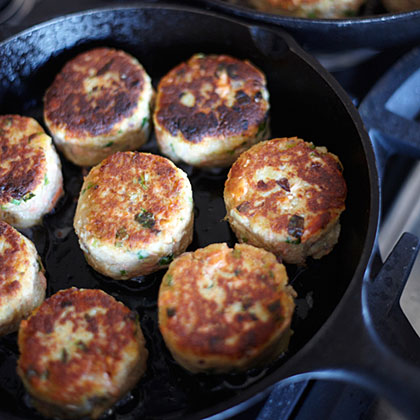 Potato-and-Wild-Salmon Cakes with Ginger and Scallions Recipe