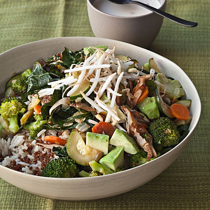 Quinoa and Brown Rice Bowl with Vegetables and Tahini Recipe