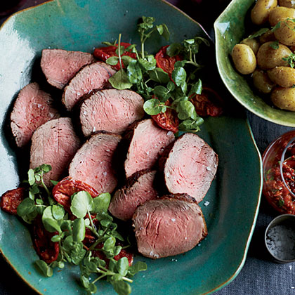 Roast Beef with Oven-Roasted Tomato SalsaRecipe