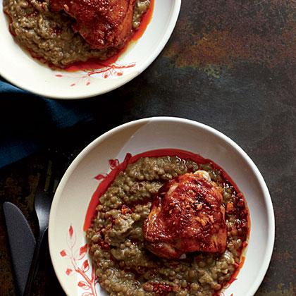 Roast Chicken Thighs with Lentil Stew