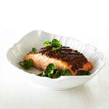Roast Salmon with Whole-Grain-Mustard Crust Recipe