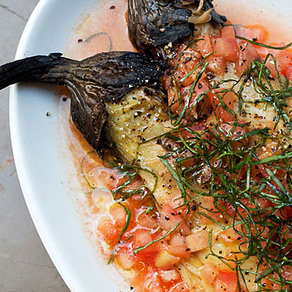 Roasted Eggplant with Tomato Dressing Recipe