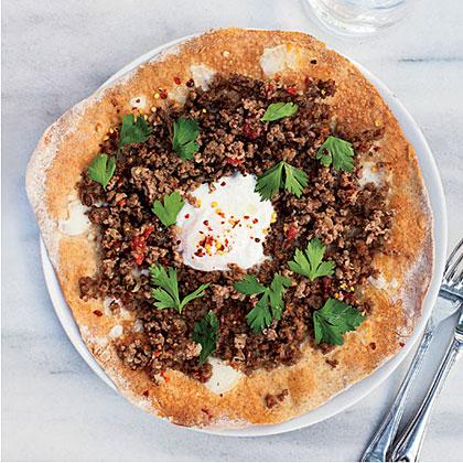 Turkish Ground-Lamb Pizzas