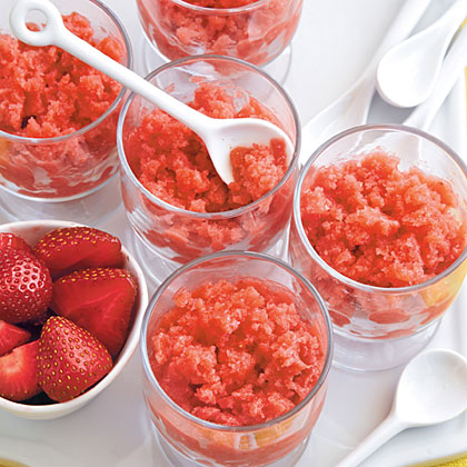 Rhubarb, Strawberry, and Thyme Granita