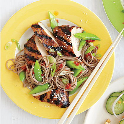 Hoisin-Grilled Chicken with Soba Noodles RecipeHoisin-Grilled Chicken with Soba Noodles is easily to the table in 30 minutes. Use time-savers like bagged, pretrimmed sugar snap peas for this quick one-dish meal.