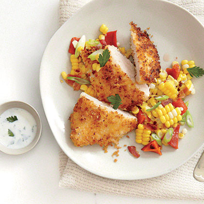 Panko-Crusted Chicken with Roasted Corn Hash and Buttermilk Dressing Recipe