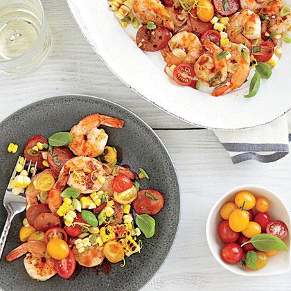 Shrimp, Chorizo, and Corn Salad