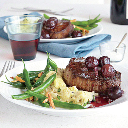 Seared Steaks with Red Wine-Cherry Sauce Recipe