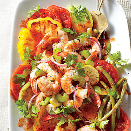 Bloody Mary Tomato Salad with Quick Pickled Shrimp Recipe