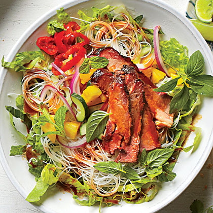 Brisket and Rice Noodles with Pineapple Salsa Recipe