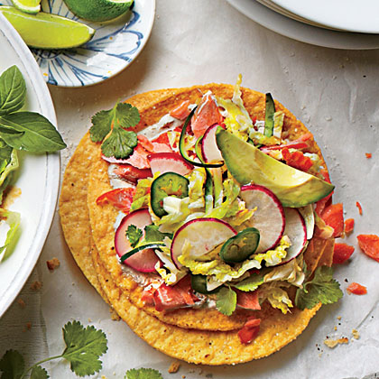 Salmon Tostadas with Zucchini-Radish Slaw                            RecipeSalmon Tostadas with Zucchini-Radish Slaw come together in just 35 minutes. Serve this crunchy plateful with avocado and lime wedges.