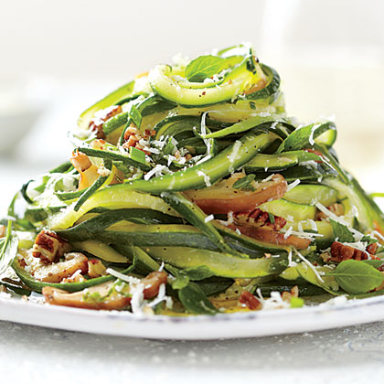 "Zucchini-Mushroom ""Linguine"" RecipeCutting zucchini into thin strips is easy and makes a fresh substitute for pasta. Add thinly sliced ribbons of salami for a meatier meal."