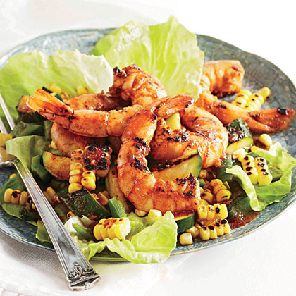 BBQ Shrimp, Corn, and Zucchini Salad