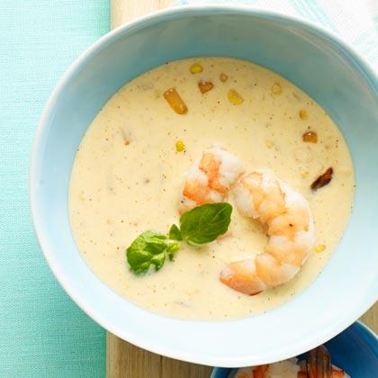 Buttermilk-Corn Soup with Shrimp