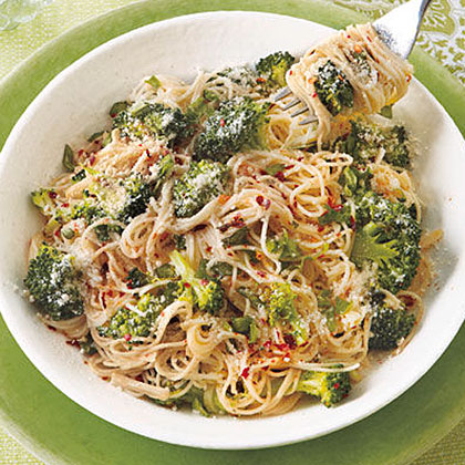 Garlicky Angel Hair with Roasted Broccoli Recipe
