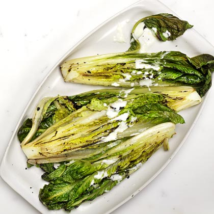 <p>Grilled Romaine with Lemon-Pepper Yogurt Dressing</p>