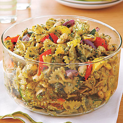 Roasted vegetable pesto pasta recipe