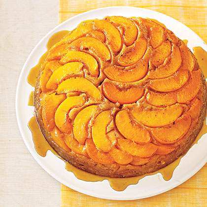 Peach Upside-Down Cake RecipeYou don't want to miss out on your chance to make this Peach Upside-Down Cake. It's fun to look at, but even more fun to eat! It will be the star of your next potluck or summer celebration.