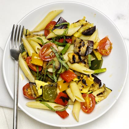 <p>Penne with Mixed Grilled Vegetables</p>