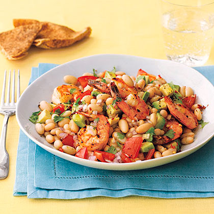 Roasted Shrimp, Avocado and White Bean Salad RecipeA terrific combination of flavors unite for Roasted Shrimp, Avocado and White Bean Salad. This one-dish meal is quick and easy and perfect for busy weeknights.