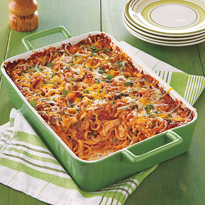 Southwestern Chicken-Pasta Bake RecipeTake a traditional tomato-based pasta bake and turn it on its head with bold Southwestern flavors in lieu of Italian.