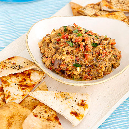 Grilled Vegetable Dip with Pita Chips