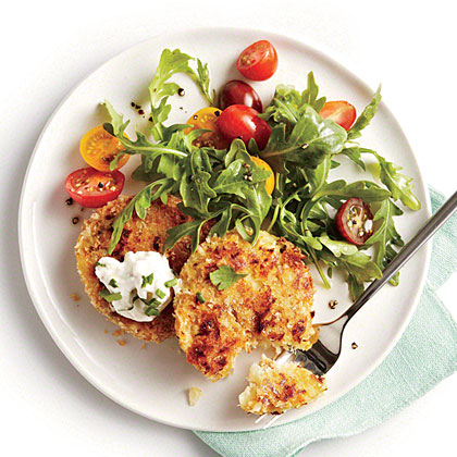 Crispy Cauliflower Cakes with Herb Sauce and Arugula Salad Recipe