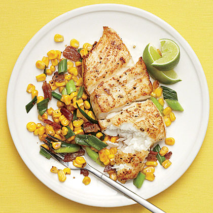 Halibut with Bacony Corn Saute